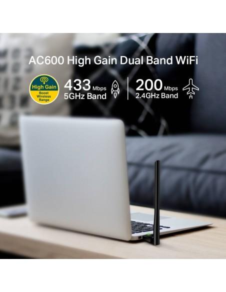 AC600 Adaptador USB Inalámbrico de Alta Ganancia Doble Banda